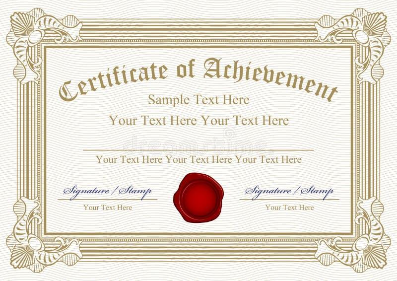 Certificato del successo illustrazione vettoriale