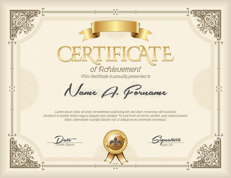 Certificato del telaio d'annata dell'oro di risultato royalty illustrazione gratis