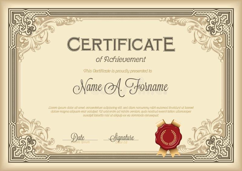 Certificato del telaio floreale d'annata di risultato illustrazione vettoriale