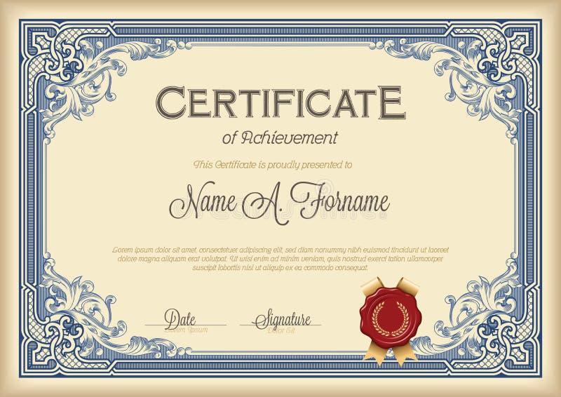 Certificato del telaio floreale d'annata di risultato illustrazione di stock
