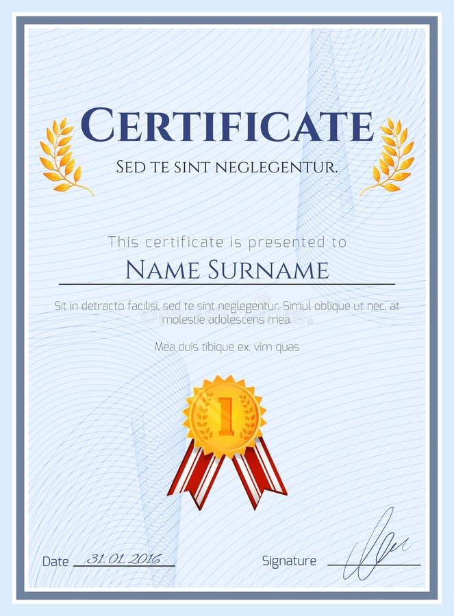 Certificato del vincitore con la guarnizione illustrazione vettoriale