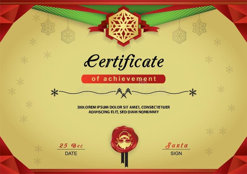 Certificato dell'oro di Natale Confine astratto verde rosso, emblema del fiocco di neve, ritratto Santa sul wafer rosso Carta di  illustrazione vettoriale