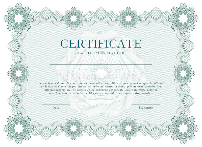 Certificato della rabescatura o fondo verde del modello del diploma, progettazione moderna Illustrazione di vettore illustrazione vettoriale