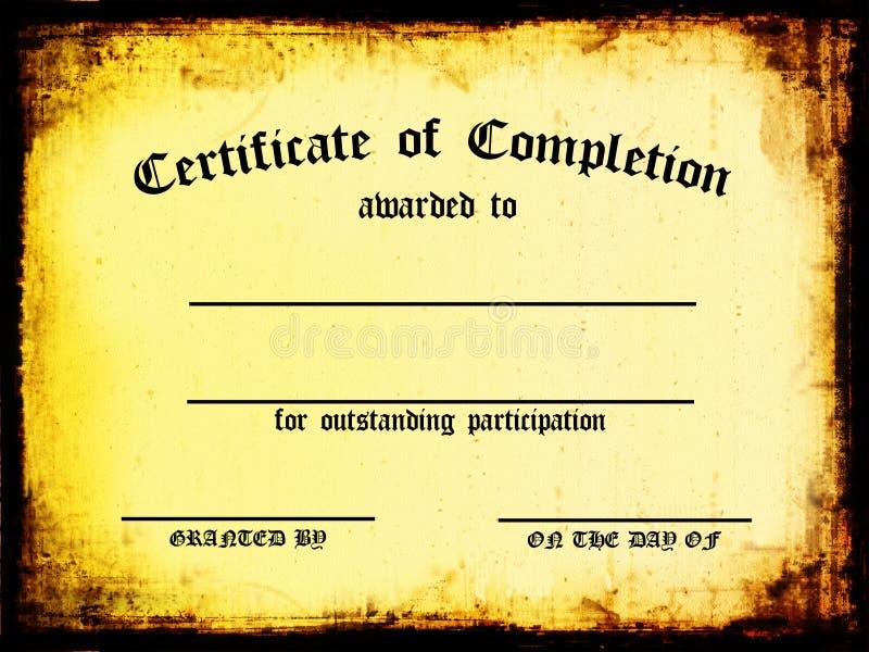 Certificato di completamento illustrazione di stock