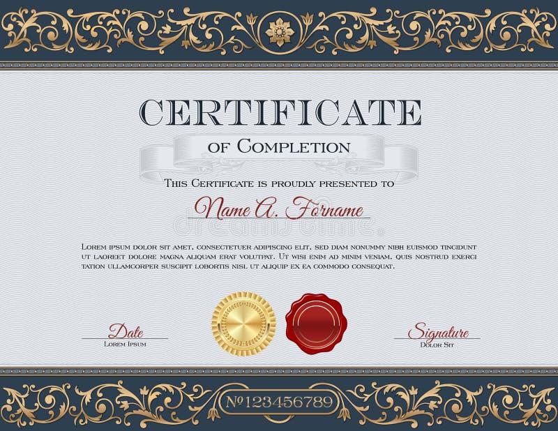 Certificato di completamento annata Struttura floreale, ornamenti royalty illustrazione gratis