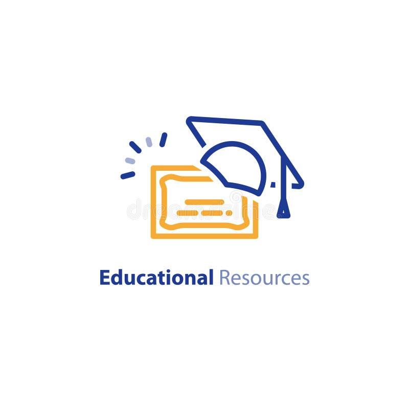 Certificato di istruzione, imparante i corsi, linea icona del cappello di graduazione illustrazione di stock