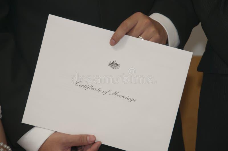 Certificato di matrimonio fotografia stock
