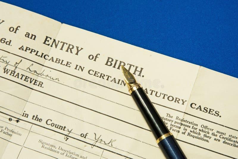 Certificato di nascita. immagine stock