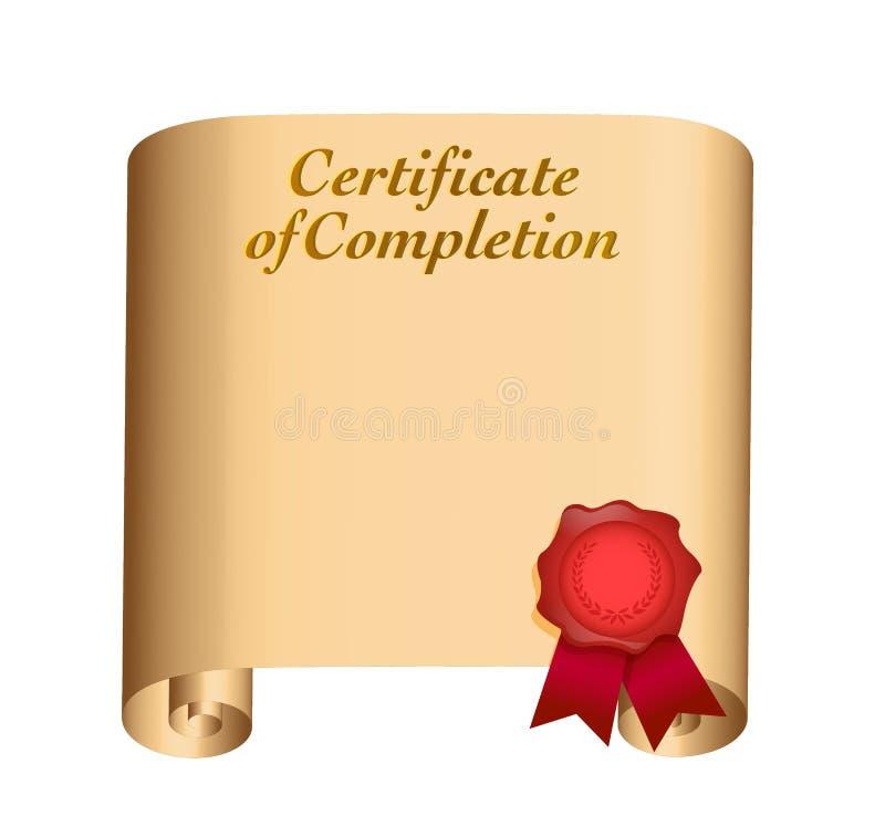 Certificato di progettazione dell'illustrazione di completamento royalty illustrazione gratis