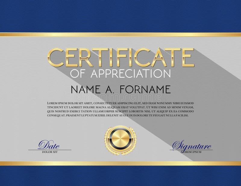 Certificato di progettazione moderna di apprezzamento illustrazione di stock