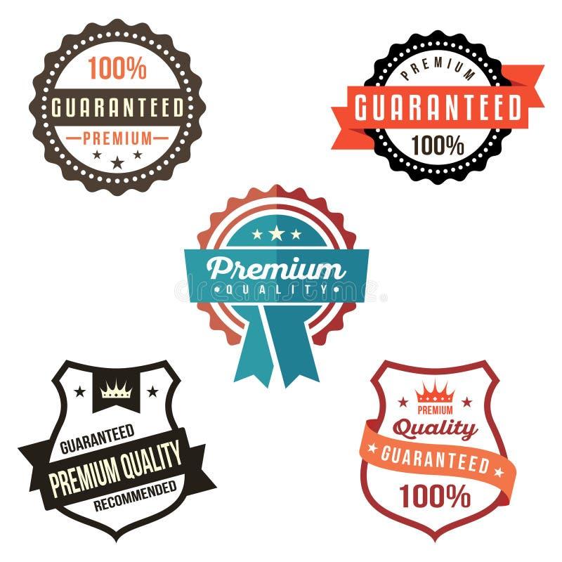 Certificato di simbolo del distintivo dello schermo dell'etichetta garantito qualità premio royalty illustrazione gratis