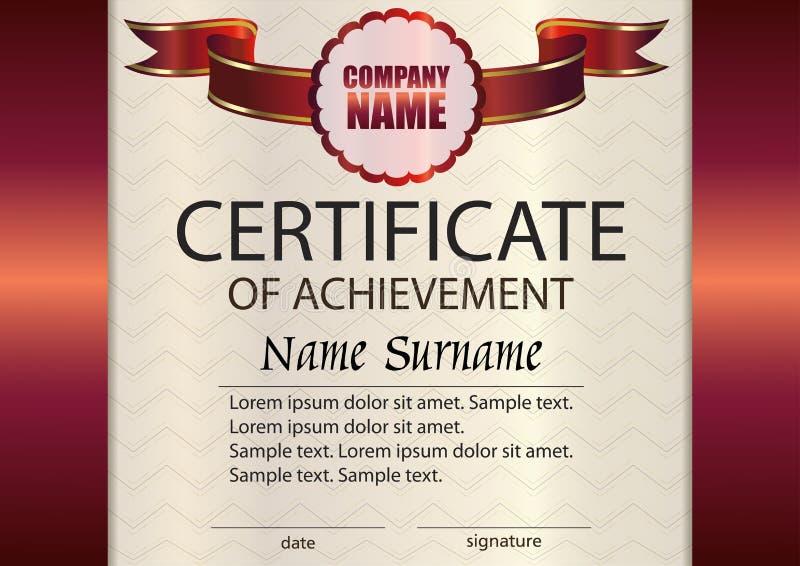 Certificato di vettore del modello di risultato vincitore del premio ricompensa illustrazione di stock
