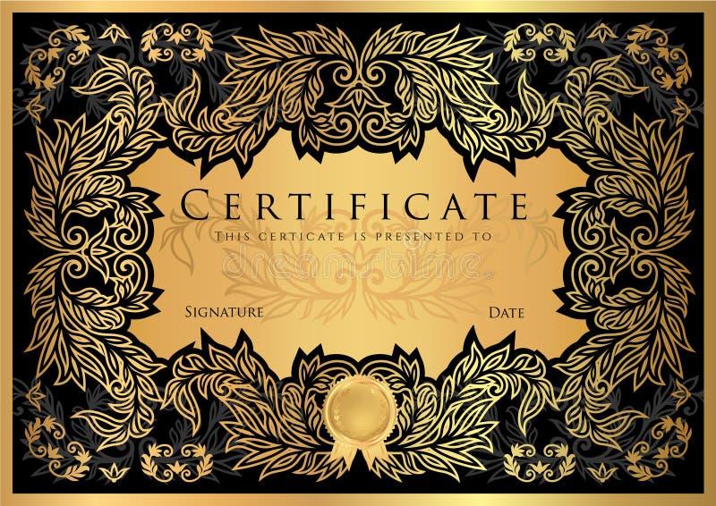 Certificato, diploma del modello di progettazione del nero di completamento illustrazione vettoriale
