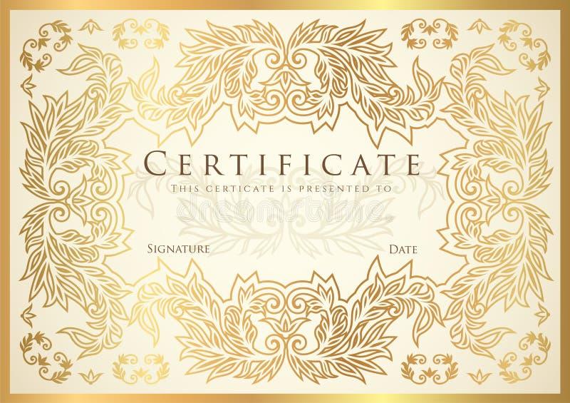 Certificato, diploma del modello dorato di progettazione di completamento, fondo bianco illustrazione di stock