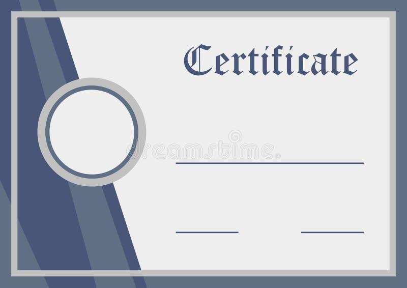 Certificato, documento in bianco, illustrazione di vettore illustrazione vettoriale