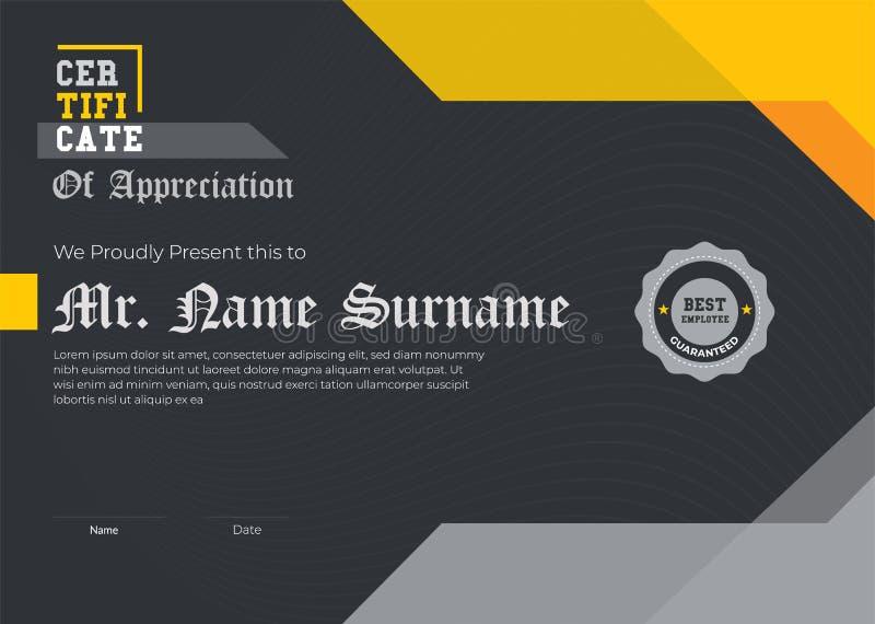 Certificato elegante dell'illustratore 10 moderni del nero del certificato del modello di apprezzamento Progettazione geometrica  fotografia stock libera da diritti