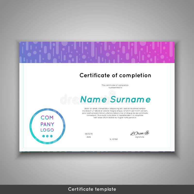 Certificato futuristico di completamento - apprezzamento, risultato, graduazione, diploma o premio - modello con divertente illustrazione di stock