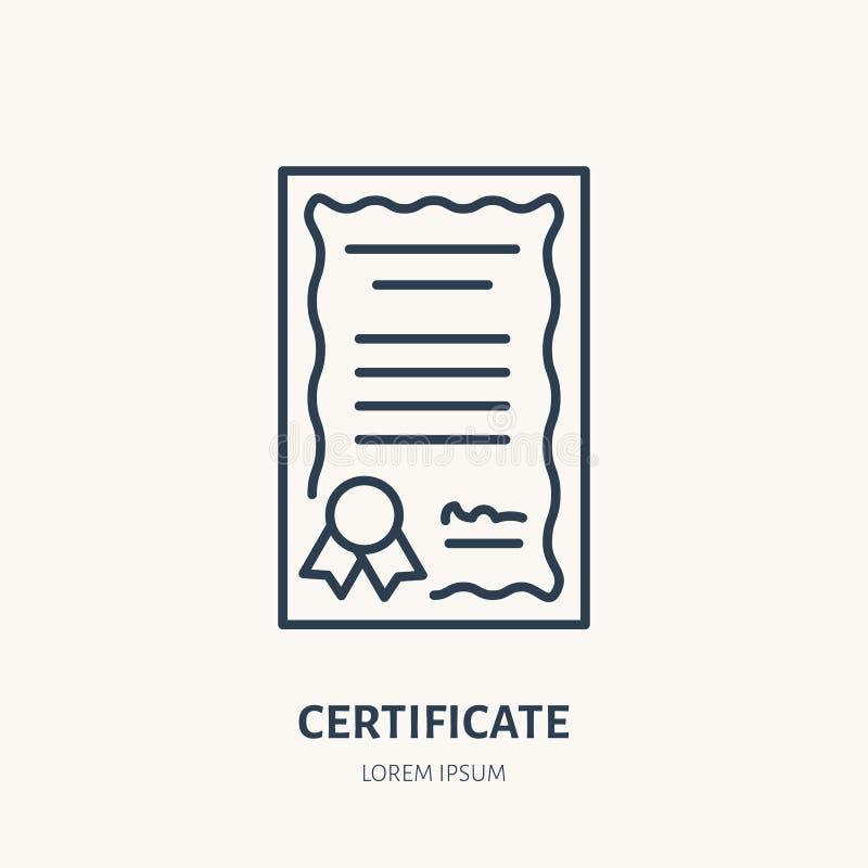 Certificato, linea piana icona di vettore di brevetto Segno del documento della licenza illustrazione di stock