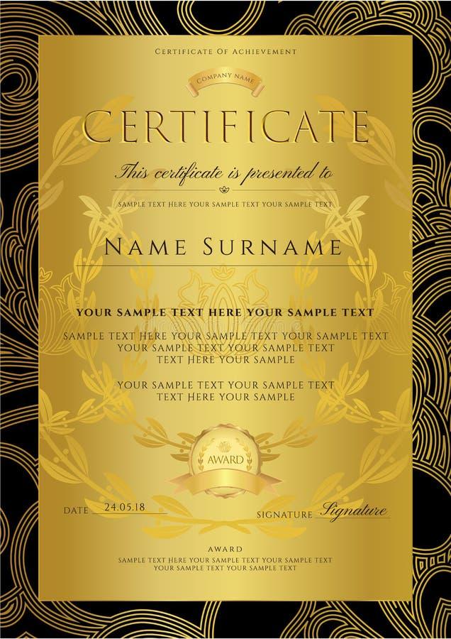 Certificato, modello dorato di progettazione del diploma, fondo con il modello floreale e a filigrana, confine del rotolo, strutt royalty illustrazione gratis