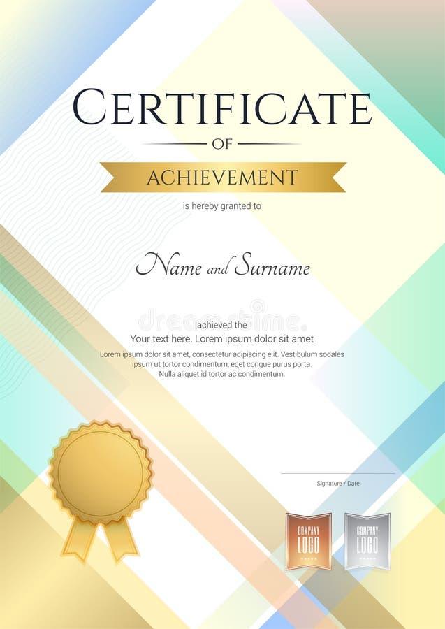 Certificato moderno del ritratto del modello di risultato con moderno illustrazione di stock