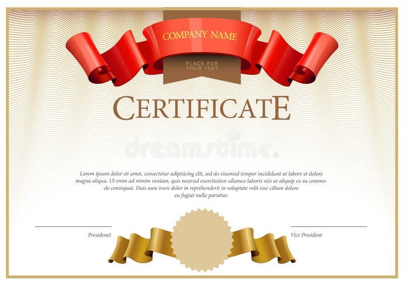 Certificato moderno Diplomi del modello, valuta illustrazione vettoriale