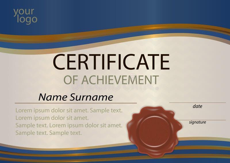 Certificato o blu ed oro del modello del diploma con la guarnizione della cera Awa illustrazione vettoriale