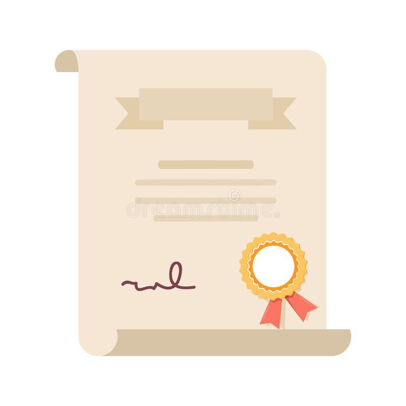 Certificato o contratto di grado Statuto di grado laureato, icona di qualità della licenza Diploma, premio o risultato con il bol illustrazione di stock