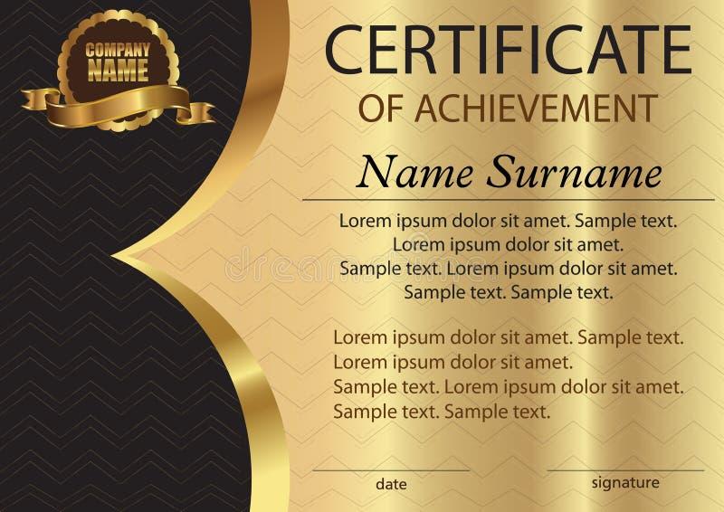 Certificato o diploma Modello su un fondo dell'oro Vittoria del premio illustrazione di stock