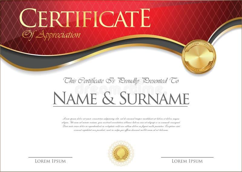 Certificato o progettazione del diploma retro illustrazione di stock