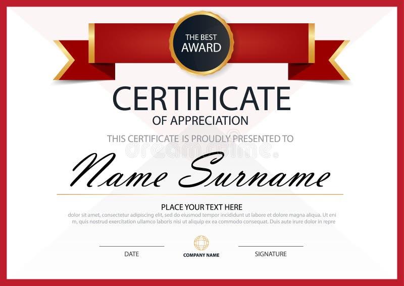 Certificato orizzontale di eleganza rossa con l'illustrazione di vettore, modello bianco del certificato della struttura con il m royalty illustrazione gratis