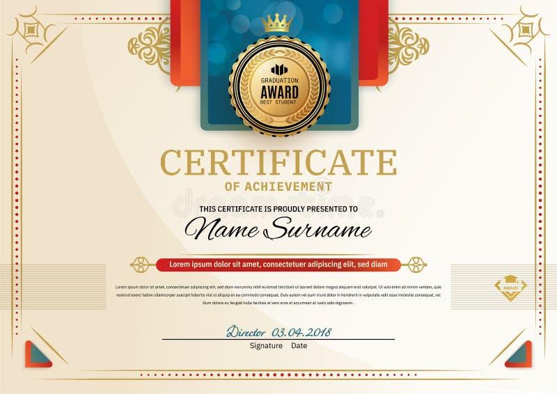 Certificato ufficiale con gli elementi rossi di progettazione del quadrato del turchese Emblema rosso dell'oro e del nastro Spazi illustrazione vettoriale
