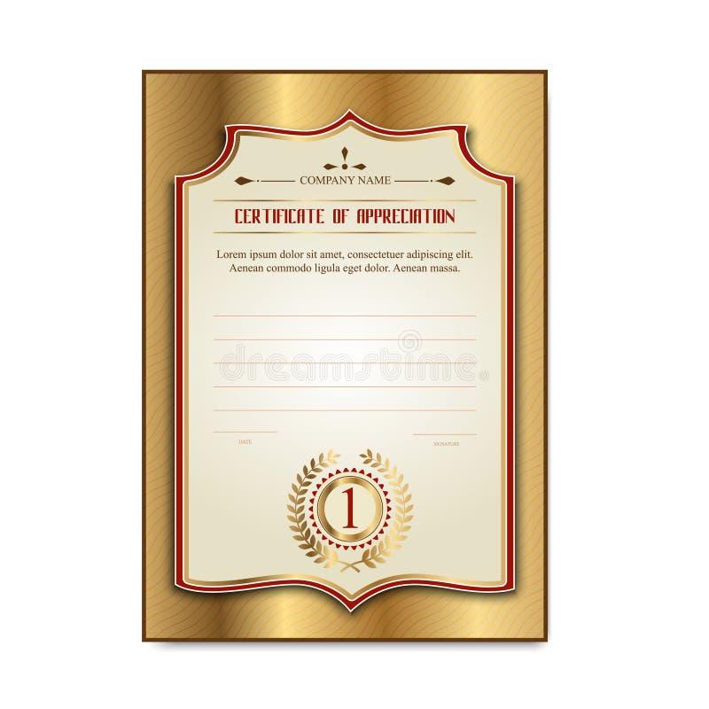 Certificats d'or de calibre avec le laurier de médaille illustration de vecteur