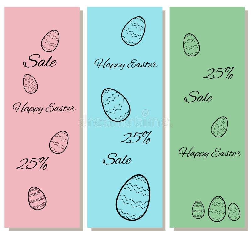 Certificats verticaux à une remise en vente de Pâques Avec les découpes des oeufs sur un fond de rose, bleu et vert escompte illustration stock