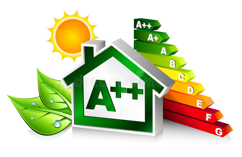 Certificazione di energia con la casa illustrazione vettoriale