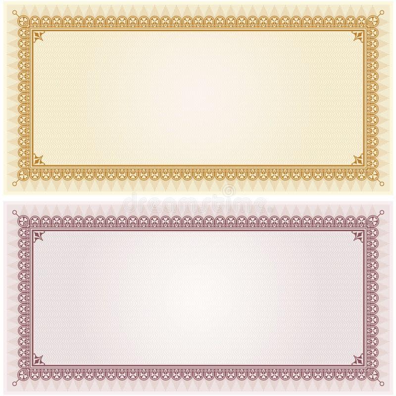 Certifichi il fondo della struttura del confine del modello dello spazio in bianco del buono del regalo royalty illustrazione gratis