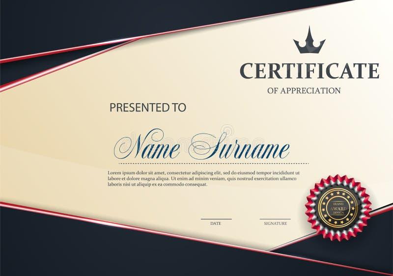 Certifichi il modello con il modello elegante ROSSO di lusso, la graduazione di progettazione del diploma, il premio, successo royalty illustrazione gratis