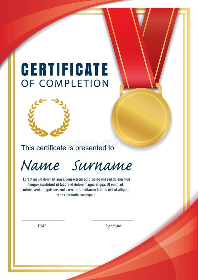 Certifichi il modello, il diploma, A4 la dimensione, vettore illustrazione vettoriale