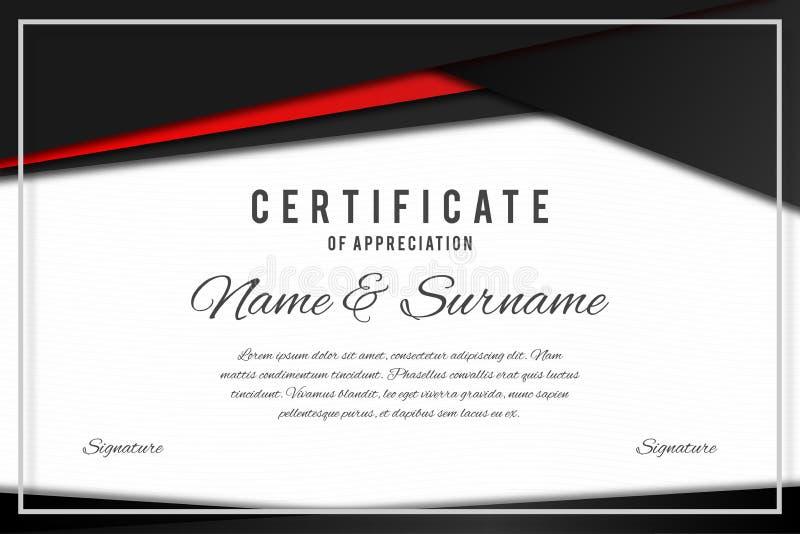 Certifichi il modello nei colori neri e rossi eleganti Certificato di apprezzamento, modello di progettazione del diploma del pre royalty illustrazione gratis