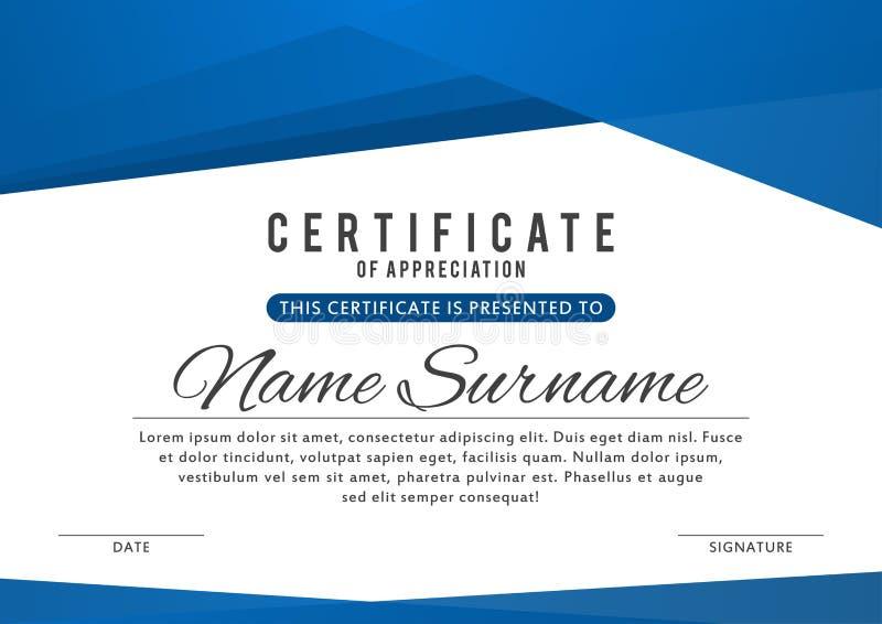 Certifichi il modello nel colore blu elegante con i confini astratti, strutture Certificato di apprezzamento, diploma del premio illustrazione di stock