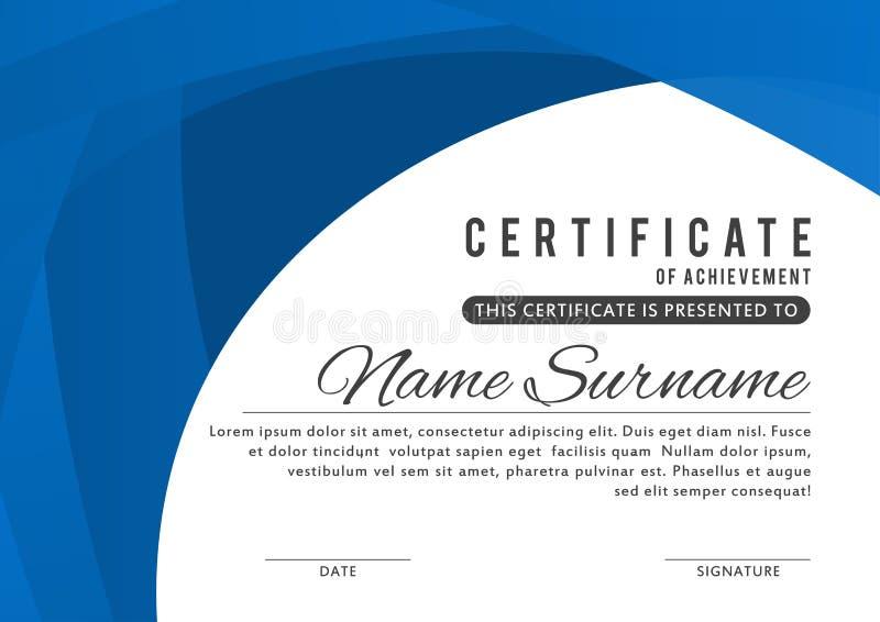Certifichi il modello nel colore blu elegante con i confini astratti, strutture Certificato di apprezzamento, templa di progettaz illustrazione di stock
