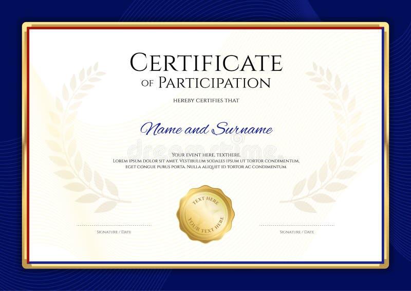 Certifichi il modello nel tema di sport con la struttura blu del confine, Dipl illustrazione di stock