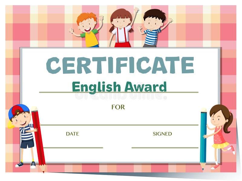 Certifichi il modello per il premio di inglese con molti bambini illustrazione di stock