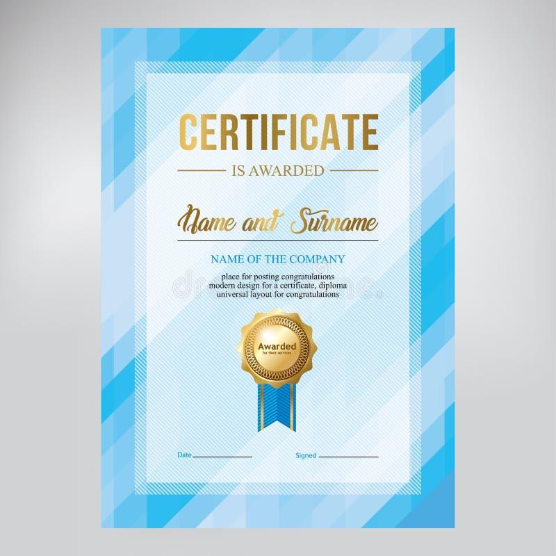 Certifichi la progettazione, il modello del diploma, il fondo blu geometrico creativo, vettore fotografia stock libera da diritti