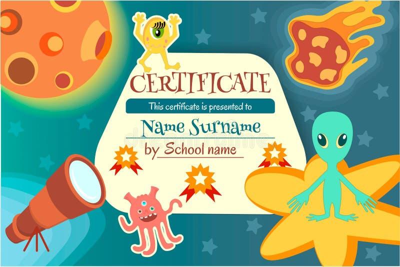 Certifichi per un gioco d'istruzione o una concorrenza dei bambini royalty illustrazione gratis