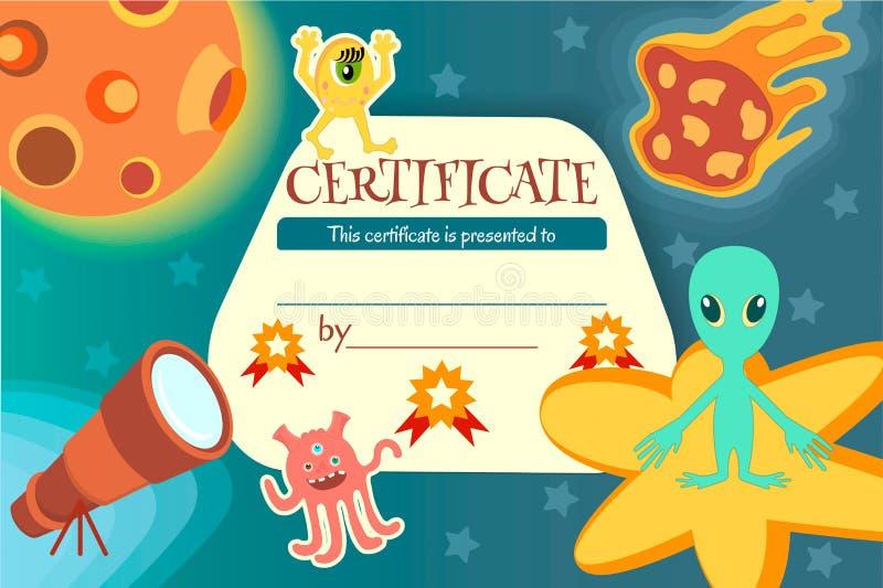 Certifichi per un gioco d'istruzione o una concorrenza dei bambini illustrazione di stock