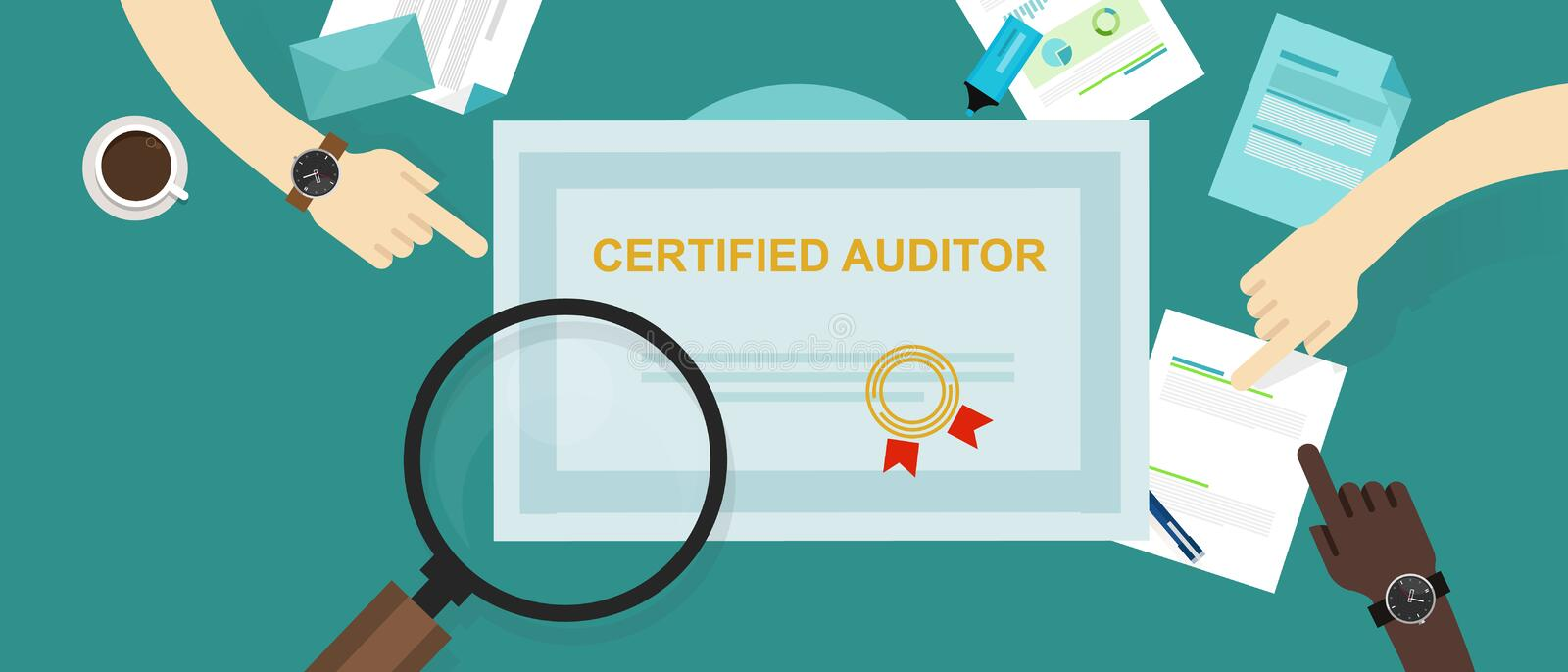 Certified auditor in internal financial certification and information technology company hand working on data with. Magnifier vector stock illustration