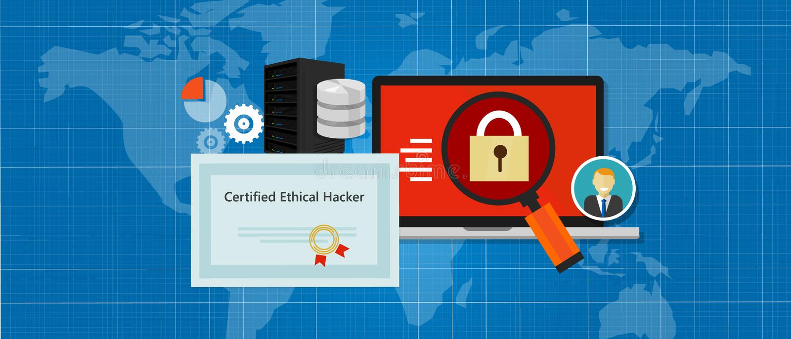 Certified Ethical Hacker security expert in computer penetration consulting company education paper standard. Vector royalty free illustration
