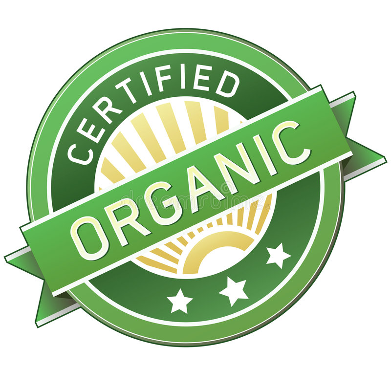 Certified organic product or food label stock illustration