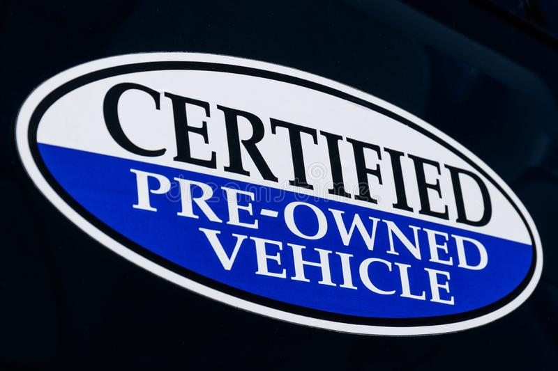 Certified Pre-Owned Vehicle sign at a used car dealership II stock illustration
