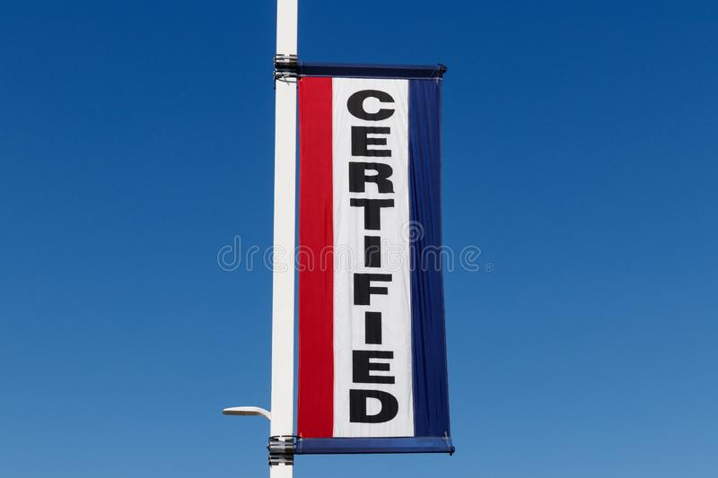 Certified Pre-Owned Vehicle sign at a used car dealership III. Certified Pre-Owned Vehicle sign at a used car dealership stock photo